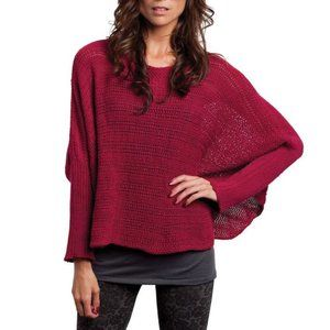 WOODEN SHIPS Red Ribbed Ruana Knit Poncho Sweater